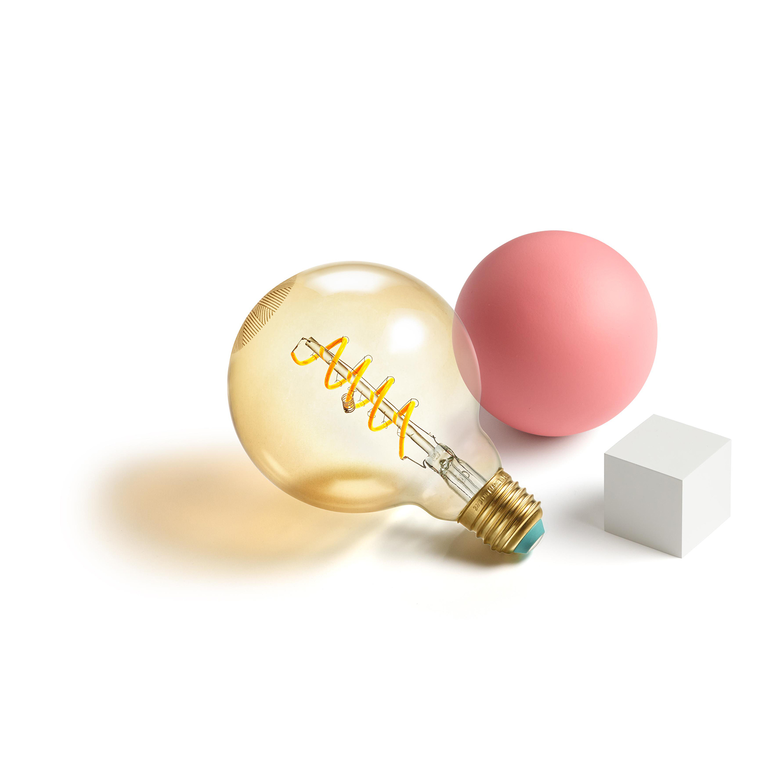 lightbulb and cube